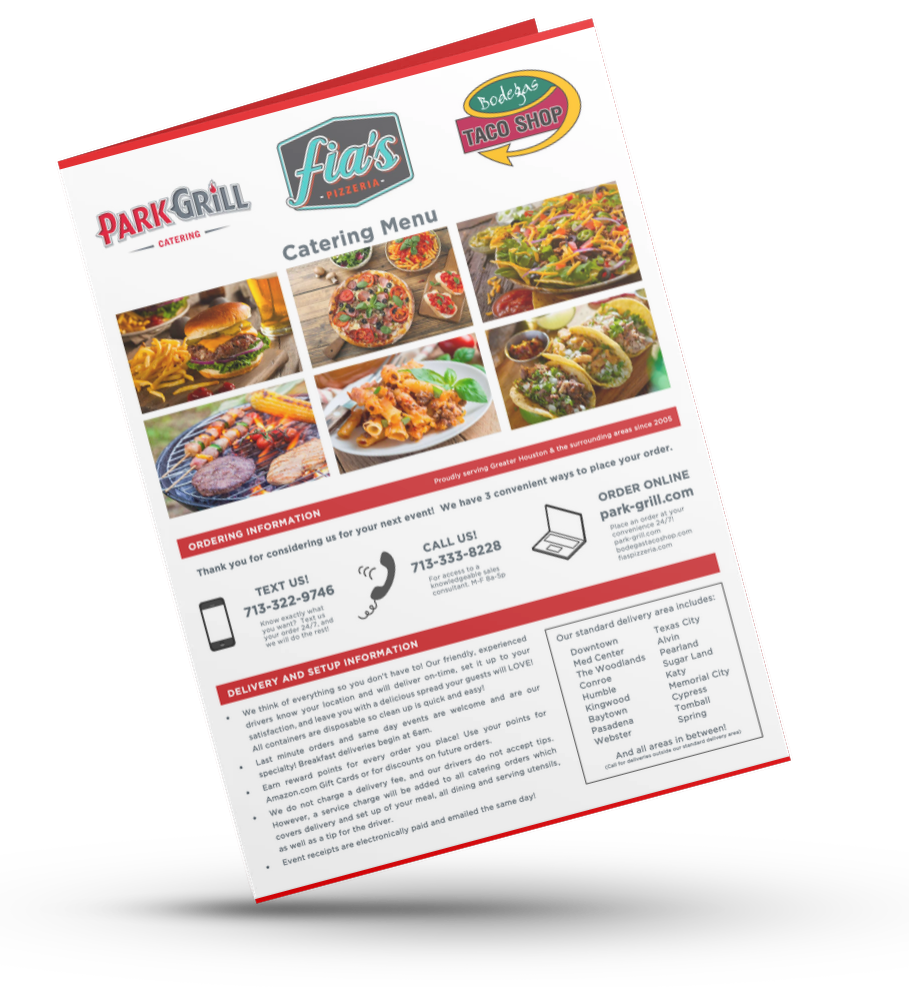Park Grill Catering Menu